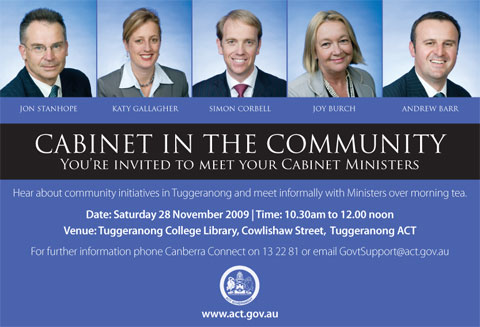 Cabinet in the Community Tuggeranong advert