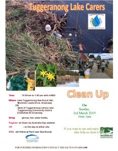 Tuggeranong Lake Carers Cleanup – Sunday 3rd March 2019