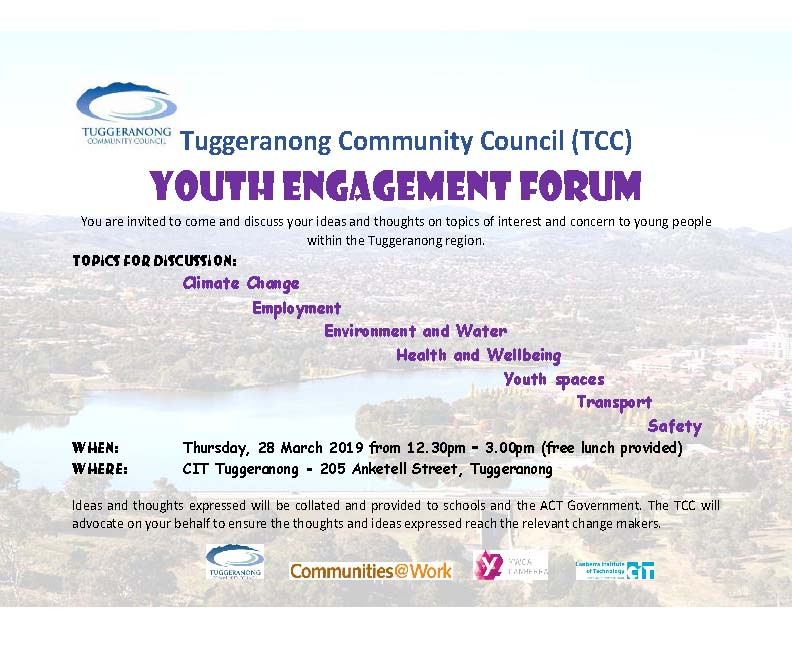 Tuggeranong Community Council (TCC) Youth Engagement Forum – 28 Mar 19