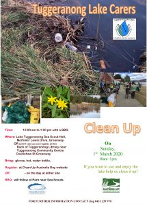Clean-Up Lake Tuggeranong on Sunday the 1st March