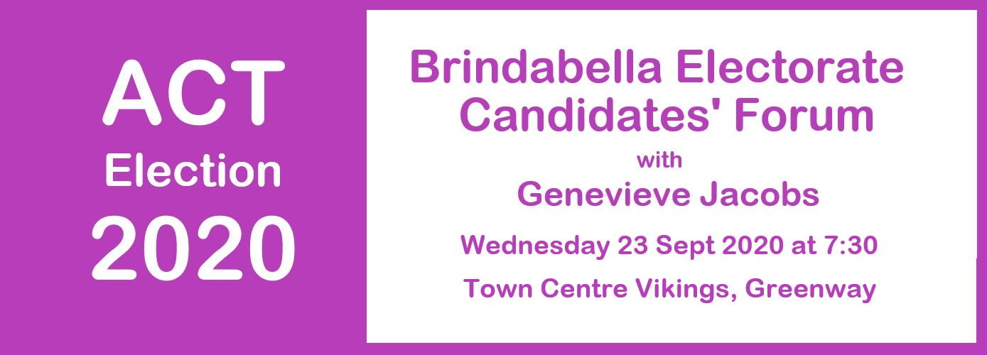 Brindabella Electorate Candidates' Forum – 23 Sep 20